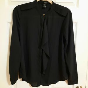 Forever 21 black button down top